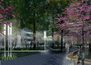 A rendering of what the linear park at Buffalo Niagara Medical Campus will look like at nights, with the LED lighting and custom pavers. 