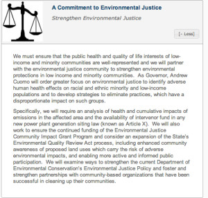 Gov. Cuomo's environmental justice pledge