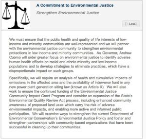 Gov. Cuomo's environmental justice pledge