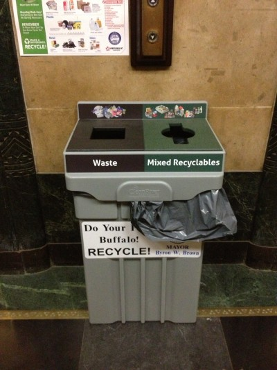 These recycling container were added to City Hall about  a month ago.