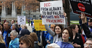 Hydrofracking protestors in Albany. Photo credit: Bennett V from Flickr Commons