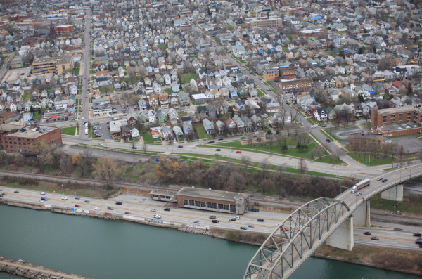 An areal shot of the Peace Bridge and adjacent neighborhood. Credit: Army Corps of Engineers