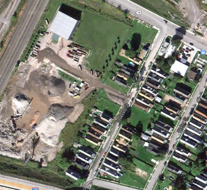 Google map aerial of Battaglia Demolition and the Peabody Street neighbors