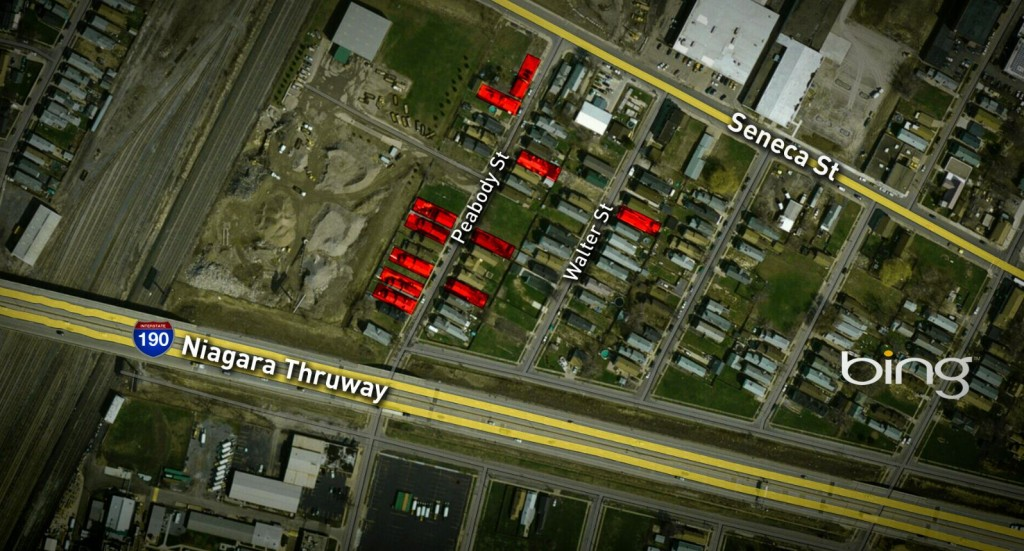 The homes in red means at least one complaint to the DEC. Battaglia's business is to the left. (Credit:WGRZ)