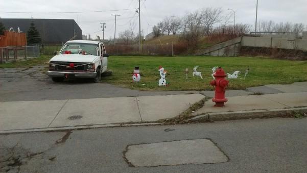 Neighbors decorated the junk truck last week